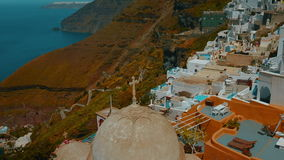 Establishing Wide Angle Shot of a Traditional Cycladic Village and the Aegean Mediterranean Sea stock video footage