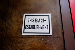 This Is A 21+ Establishment Royalty Free Stock Photos