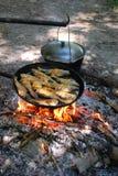 A estaca é peixe fritado em uma frigideira e em algum potenciômetro caloroso Fotografia de Stock