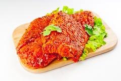 Estaca da carne de porco no marinade Fotografia de Stock