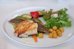 Estaca grelhada de peixes de Hoki com salada misturada Fotografia de Stock