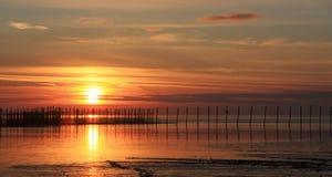 Estacas de la puesta del sol y de la pesca Imagen de archivo libre de regalías