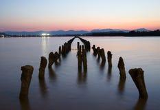 Estacas de madeira que emergem fora do lago no por do sol colorido dentro Fotografia de Stock Royalty Free