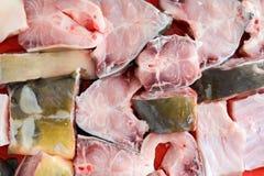 Estacas dos peixes na placa pronta para ser coberto nos pães ralados e no bak Foto de Stock