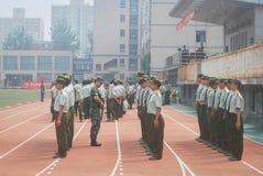Estación aseada 29 del entrenamiento militar de los estudiantes universitarios de China Imagen de archivo libre de regalías