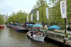 Estación azul de las travesías del canal del barco Imágenes de archivo libres de regalías