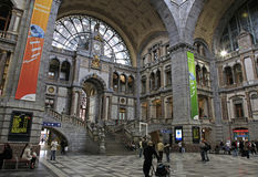 Estación central de Amberes, Antwerpen/Anvers (ciudad), región de Flandes, Bélgica Fotografía de archivo libre de regalías