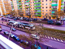 Estación colorida de la tranvía, Bucarest Fotos de archivo libres de regalías