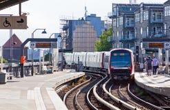 Estación de Baumwall U-Bahn en Hamburgo, Alemania Imagen de archivo