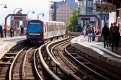 Estación de Baumwall U-Bahn en Hamburgo, Alemania Fotos de archivo