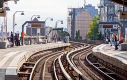 Estación de Baumwall U-Bahn en Hamburgo, Alemania Foto de archivo