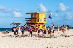 Estación de Baywatch en la playa en la playa del sur Miami la Florida Fotos de archivo