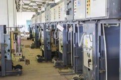 Estación de bombeo eléctrica de la centralita telefónica Unidades de control y eléctrico Fotos de archivo