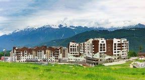 Estación de esquí de los hoteles Fotografía de archivo libre de regalías