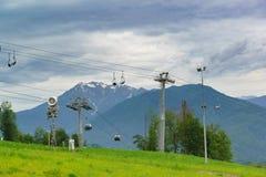Estación de esquí del ferrocarril aéreo Fotos de archivo libres de regalías