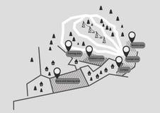 Estación de esquí del mapa Foto de archivo libre de regalías