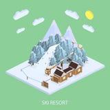 Estación de esquí Paisajes de la montaña Ejemplos isométricos del vector ilustración del vector