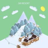 Estación de esquí Paisajes de la montaña Ejemplos isométricos del vector Fotos de archivo