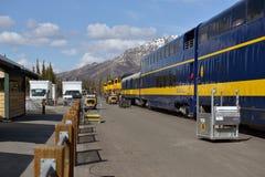 Estación de ferrocarril en el parque nacional de Denali Imagenes de archivo