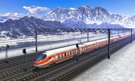 Estación de ferrocarril en montañas con el tren de la velocidad foto de archivo libre de regalías