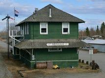 Estación de ferrocarril en Nenana Alaska Foto de archivo libre de regalías