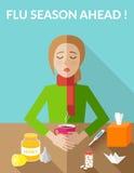 Estación de gripe a continuación Mujer enferma que se sienta en la tabla Imagenes de archivo