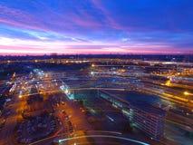 Estación de la central de Kyiv Puesta del sol sobre la ciudad Imagen de archivo