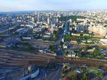Estación de la central de Kyiv Puesta del sol sobre la ciudad Imagen de archivo libre de regalías