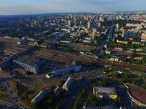 Estación de la central de Kyiv Puesta del sol sobre la ciudad Foto de archivo