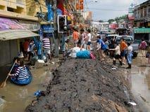 Estación de la monzón en Ayuttaya, Tailandia 2011 Imágenes de archivo libres de regalías