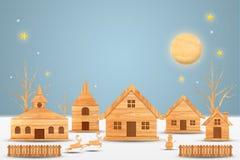 Estación de la Navidad y estación de la Feliz Año Nuevo hecha de la madera con el arte y el estilo del arte, ejemplo de las decor Foto de archivo libre de regalías