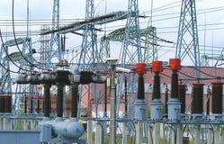 Estación de la transformación de la electricidad Imagen de archivo libre de regalías