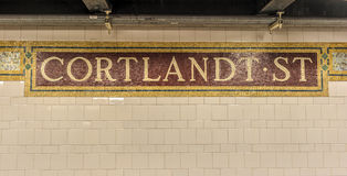 Estación de metro de la calle de Cortlandt, Nueva York Fotos de archivo libres de regalías