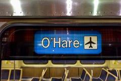 Estación de metro del aeropuerto de ÓHarez - Chicago Foto de archivo libre de regalías