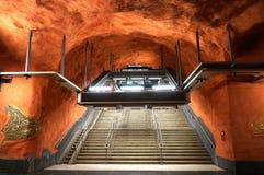 Estación de metro en Suecia imagen de archivo libre de regalías