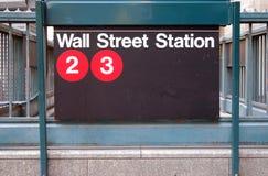Estación de metro de Wall Street Foto de archivo