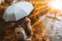 Estación de oro hermosa del otoño Acuarela como muchacha rubia borrosa con la mochila y soportes de paraguas brillantes debajo de fotografía de archivo libre de regalías