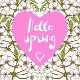Estación de primavera que da la bienvenida, saludos de la estación Imágenes de archivo libres de regalías