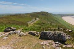 Estación de radar Rhossili abajo de Gower Wales Reino Unido Foto de archivo