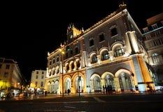 Estación de Rossio en la noche foto de archivo libre de regalías