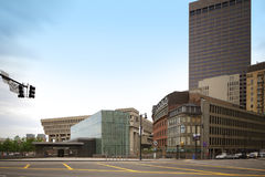 Estación de tránsito de centro del gobierno Boston céntrica Foto de archivo libre de regalías