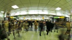 Estación de tren de Tokio del lapso de tiempo del tráfico peatonal de la ciudad metrajes
