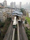 Estación de tren del carril y tren ligeros Fotos de archivo libres de regalías
