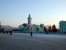 Estación de tren en el centro de Novosibirsk en invierno fotos de archivo