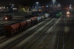 Estación de tren en la noche Fotografía de archivo