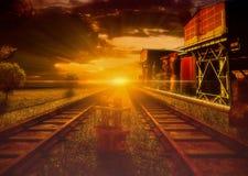 Estación de tren industrial de Steampunk Fotos de archivo libres de regalías