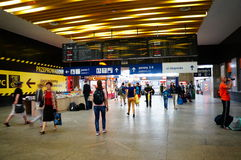 Estación de tren ocupada fotografía de archivo libre de regalías