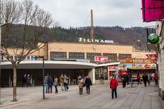 Estación de tren principal en el centro de ciudad de Zilina Foto de archivo libre de regalías