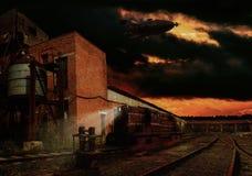 Estación de tren de Steampunk Imagen de archivo libre de regalías