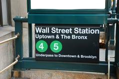 Estación de Wall Street, New York City fotografía de archivo